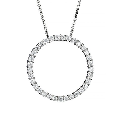 JewelStop 925 Sterling Silver Rhodium CZ Circle of Life Pendant Necklace - 18