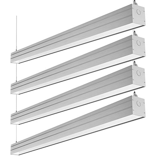 Hykolity LED Architectural Suspended Linear Channel Light Linkable, 4FT 40W 3000K/4000K/5000K CCT Selectable, Dimmable Office Lighting Fixture for Commercial Places, 4600lm, ETL, 4 Pack