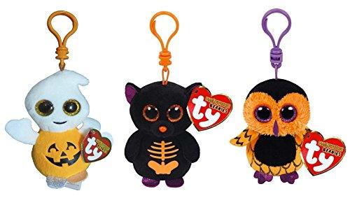 TY Halloweenie Beanie Babies - Set of 3 (Pumpkie, Fangs & Screech) (key clips)