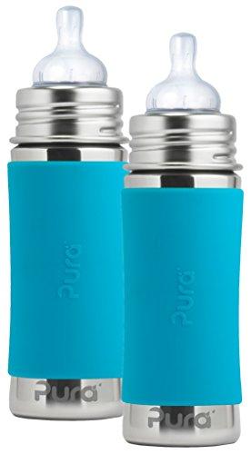 Sports Infant Bottle - Pura Kiki Stainless Steel Infant Bottle with Aqua Silicone Sleeve, 11 Ounce, Set of 2