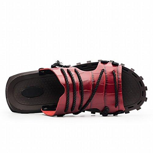 Samsay Menss Casual Läder Utomhus Slide Sandal Modell 7551 Röd