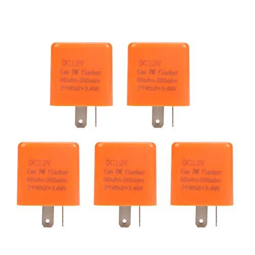 - Akozon Flasher Relay, 5pcs/Set 12V 2 Pin Motorcycle Blinker Adjustable LED Turn Signal Indicator