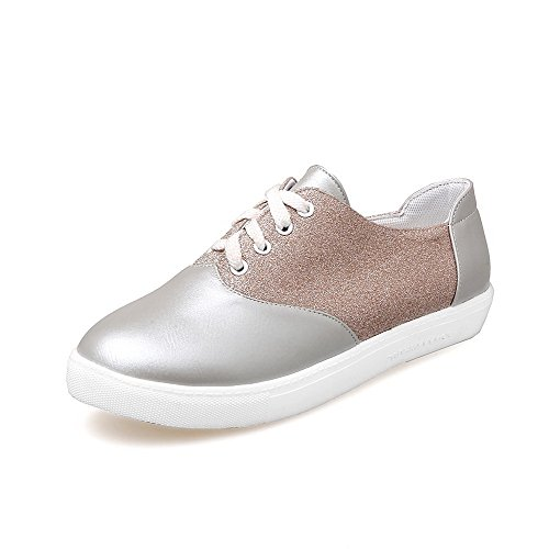 Odomolor AmagooTer Women's Blend Materials Lace-up Round-Toe Low-Heels Pumps-Shoes Silver