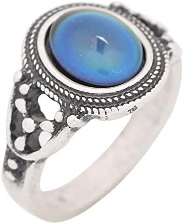 Mojo Bohemia Steampunk Style Antique Sterling Silver Plating Color Change Mood Ring for Women MJ-RS006