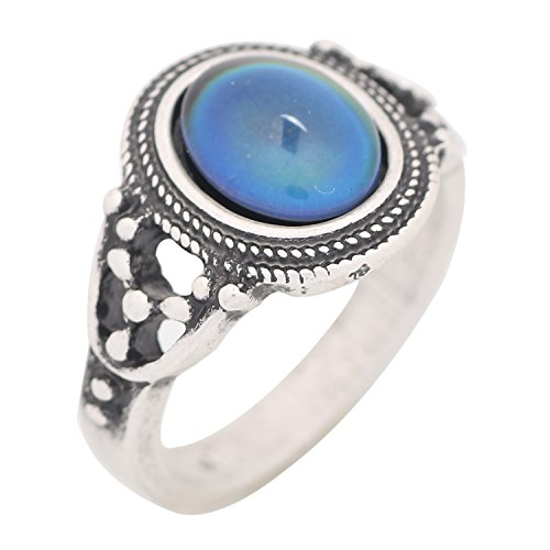 Mojo Bohemia Steampunk Style Antique Sterling Silver Plating Color Change Mood Ring for Women MJ-RS006 (9) (Antique Ring Size 9)