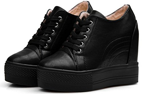 - Women Wedges Sneakers with Hidden Heel Ankle High Wide Width Platform Walking Shoes (8, Black)