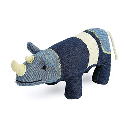 (Pro Goleem Rhino Stuffed Squeaky Dog Toy Made of Jeans Cloth for Puppy, Small, Medium Pet)