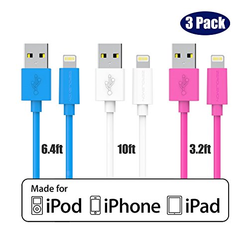 Zero Lemon iPhone Charger Cable [Apple MFi Certified], Family Mix Pack [3.2ft+6.4ft+10ft] Lightning to USB Durable and Sync Cable for iPhone 7/6/6s/Plus/5/SE/iPad Mini/Air/Pro