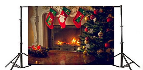 Yeele 10x8ft Merry Christmas Photography Backdrops Santa Claus Stocking Tree Mantel Fireplace Background Picture Xmas Party Banner Decoration Family Portrait Photo Booth Shooting Studio Prop Wallpaper