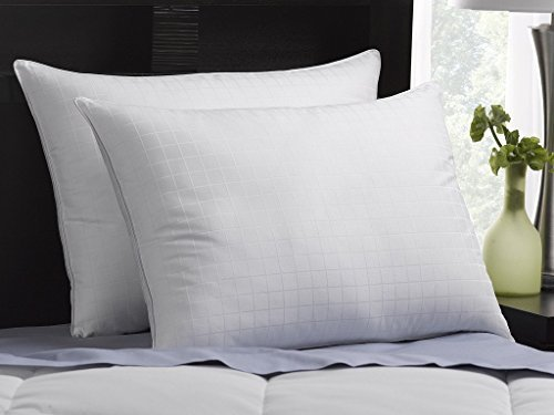 Exquisite Hotel Soft Luxury Plush Down-Alternative Hotel Luxe Pillows 2-Pack, King Size, Gel-Fiber Filled Pillows - Hypoallergenic, 100% Cotton Shell With Windowpane Pattern - SOFT Density, Ideal For Stomach Sleepers