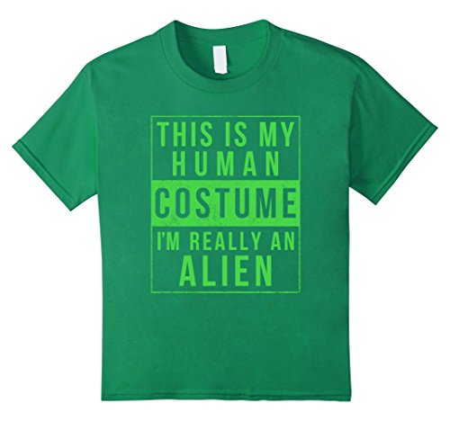 Kids Alien Halloween Costume Shirt Funny UFO Easy for Kids Adults 10 Kelly Green