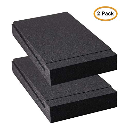 """Studio Monitor Isolation Pads, Suitable for 5"""" inch Speakers, High-Density Acoustic Foam for Significant Sound Improvement, Prevent Vibrations and Fits most Stands - 2 Pads"""