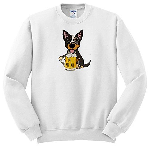 All Smiles Art Pets - Funny Cute Australian Cattle Dog Drinking Beer - Sweatshirts - Adult SweatShirt 2XL (ss_256453_5) ()