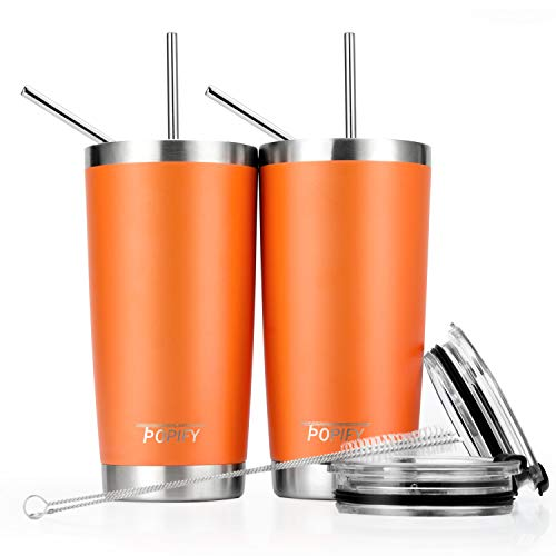 - Toopify 20oz Stainless Steel Insulated Tumbler Travel Mug with Straw Slider Lid, Cleaning Brush, Double Wall Vacuum,Orange Pack of 2