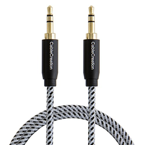 CableCreation 3.3-Feet 3.5mm Braided Audio Cable, Male to Male Stereo Aux Cable with Premium Metal, for Smartphones, Tablets and MP3 Player, Black Color
