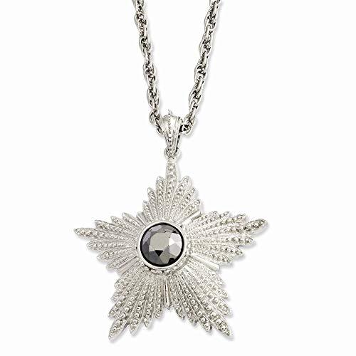 1928 Jewelry Silver-Tone Fancy Lobster Closure Hematite Epoxy Stone Star Pendant 32inch Necklace