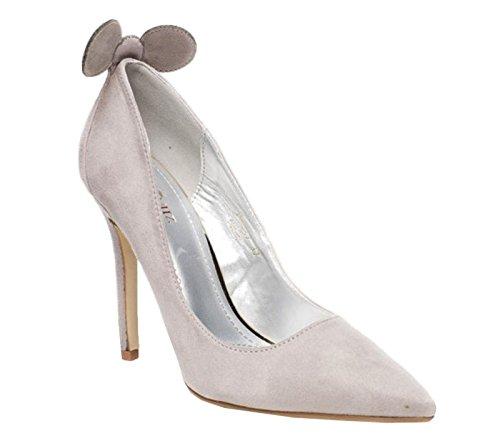 Womens Ladies Faux Suede Slip On High Stiletto Heel Smart Fancy Pumps Court Shoes - F31 Grey 5KNc99nn