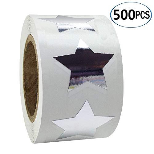 (SMARSTICKER Silver Star Shape Stickers - 2