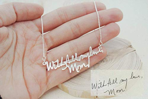 Memorial Signature Necklace Personalized Handwriting Necklace Keepsake Jewelry in Sterling Silver Handwriting Jewelry