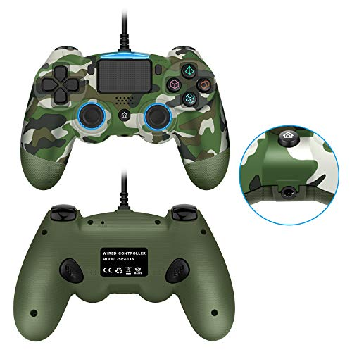 PS4 Controller, USB Wired Dual Vibration PS4 Remote Controller Joystick with Additional L3 R3 Buttons and 3.5MM Headphone Jack for Play Station 4 PS4/PS3/PC Platform