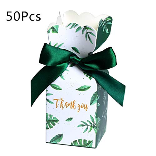 Yeahii 50Pcs/Set Green Paper Candy Boxes Gift Bag Wedding Gift Box Baby Shower Favors Birthday Party Christmas Supplies Wedding Decoration for Your Friends Or Beloves
