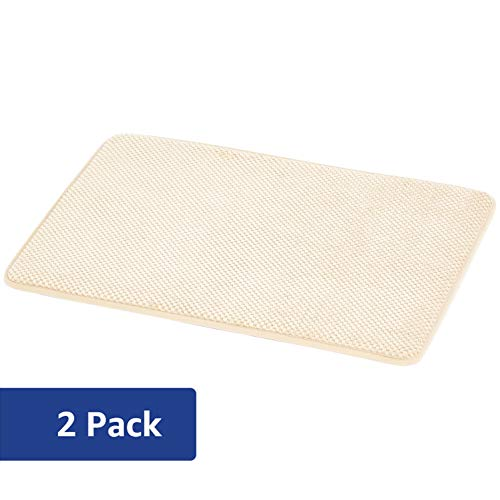 AmazonBasics Textured Memory Foam Bath Mat – Pack of 2, Small, Beige