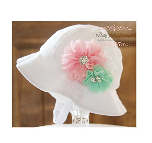 Baby Sun Hat with Removable Flower Clip - Baby Easter Bonnet (Hat with Pink Mint and White Flower)