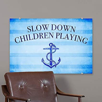 27x18 Nautical Stripes Premium Brushed Aluminum Sign 5-Pack CGSignLab Slow Down Children Playing