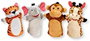 Melissa & Doug Zoo Friends Hand Puppets - The Original (Set of 4 - Elephant, Giraffe, Tiger, and Monkey -