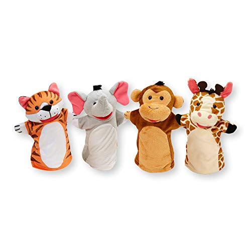 Melissa & Doug Zoo Friends Hand Puppets, Puppet Sets, Elephant, Giraffe, Tiger, and Monkey, Soft Plush Material, Set of 4, 14' H x 8.5' W x 2' L