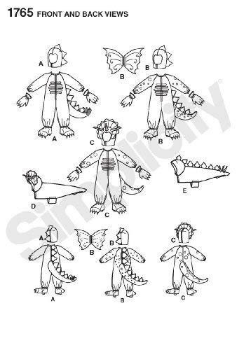 A - Patrón con Instrucciones para Coser Disfraces de Dinosaurio para niños y Perros (Tallas 3-8): Amazon.es: Hogar
