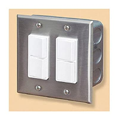 Infratech 14 4305 Accessory - Dual Duplex Switch Wall Plate & Gang Box 20 Amp Per Pole, Patio Heater Switch and Wall Plate