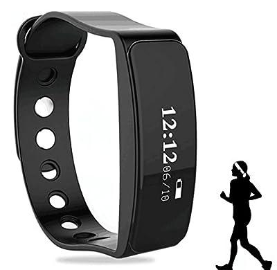 Fitness Tracker, 2017 Updated Waterproof OLED Screen Bluetooth Smart Fitness Tracker Armband | Wristband | Bracelet (Black)
