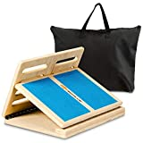 Goplus Slant Board, 4-Level Adjustable Wooden Incline Stretch Board, with Rotary Hinge & Anti-Skid Surface, 350lbs Weight Capacity, Safe & Stable Incline Training Board (Blue)