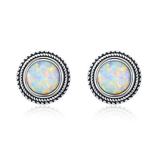Opal Earrings for Women, Sterling Silver Synthetic Opal Stud Earrings Round Fire Opal Earrings Shimmering Hypoallergenic Jewelry for Women Sister Friends Girlfriend Wife Daughter - 7MM ...