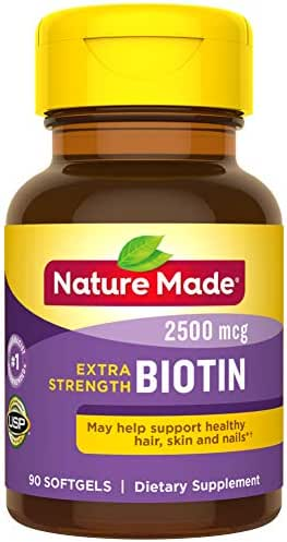 Nature Made Biotin 2500 mcg Softgels 90 Ct, Support Healthy Hair, Skin, Nails† (Packaging May Vary)