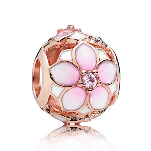 Pukido Rose Gold Cherry & Magnolia Bloom Cinderella Pumpkin Coach Majestic Crown Beads Fit Pandora Bracelet 925 Sterling Silver Charm - (Color: 6)