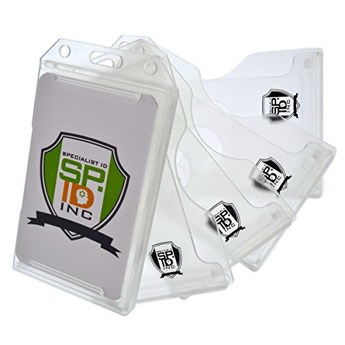 5 Pack Specialist ID Multiple Card ID Badge Holders - Heavy Duty Rigid / Hard Plastic (Clear)