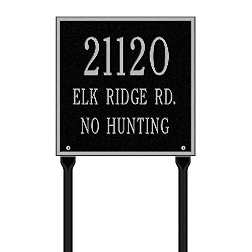 (Whitehall Products Square Standard Lawn 3-Line Address Plaque - Black/Silver)