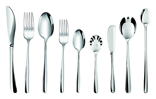 Stainless Spoon Gibson Steel (Flatware Set - 24 piece Stainless Steel Silverware with 4 Extra Serving Set included - Hornbit Dinnerware Cutleries - Quality Type 304 Stainless Steel - Continental Size (Signature Collections, 24))
