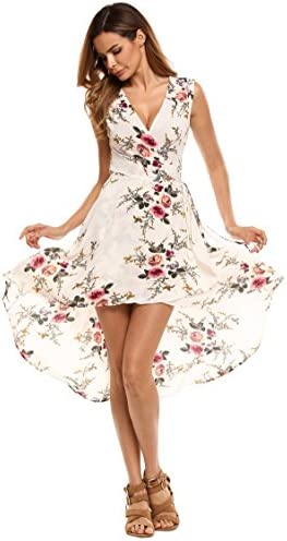 2118e9c31f5a Elesol Women's V-Neck Sleeveless Hi Low Dress Floral Print A Line Midi Dress