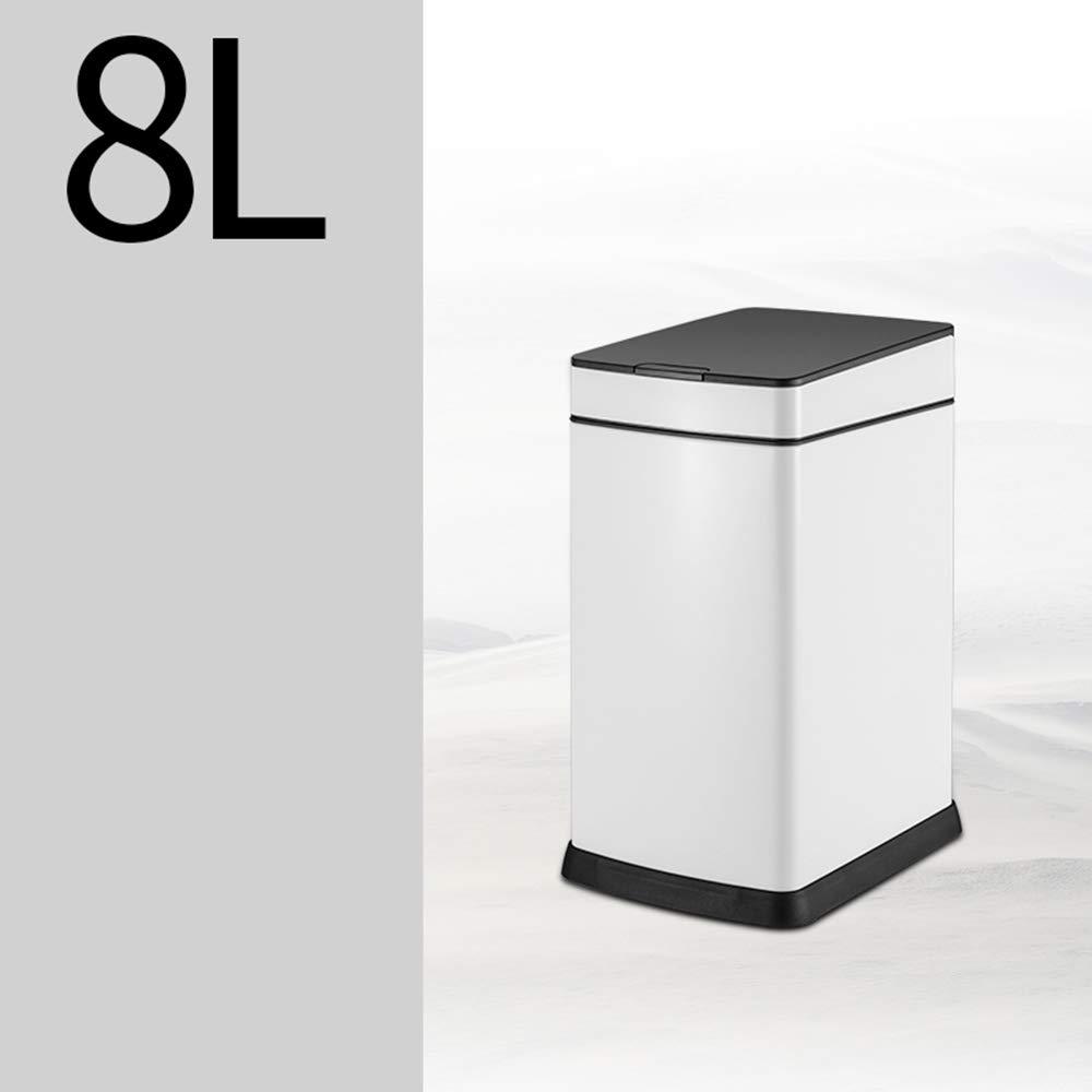 スマート誘導ごみ箱ホームクリエイティブ大型USB充電式ごみ箱ホームトイレリビングルームベッドルームキッチン (色 : Pure white, サイズ さいず : 8L) B07J9RH29J 8L|Pure white Pure white 8L