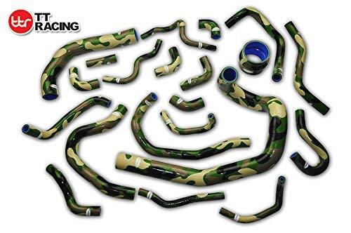 Silicone Radiator Hose Kit for Toyota Supra MK3 MA70 7MGE/7MGTE/7M-GT 86-92 Camo Green 21pcs: