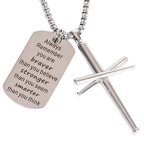 AB Max Baseball Cross Necklace - Bats Athletes Dog Tag Military Air Force Pendant Key Chain Sport Stainless Steel Cross Necklaces for Men Women Boys Girls St. Patrick's Day Gifts 24