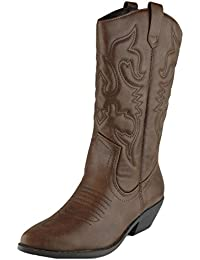 Women's Cowboy Western Pointed Toe Knee High Pull On Tabs Boots