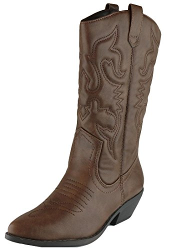 (Cambridge Select Women's Western Pointed Toe Mid-Calf Cowboy Boot,8 M US,Dark Tan Pu)