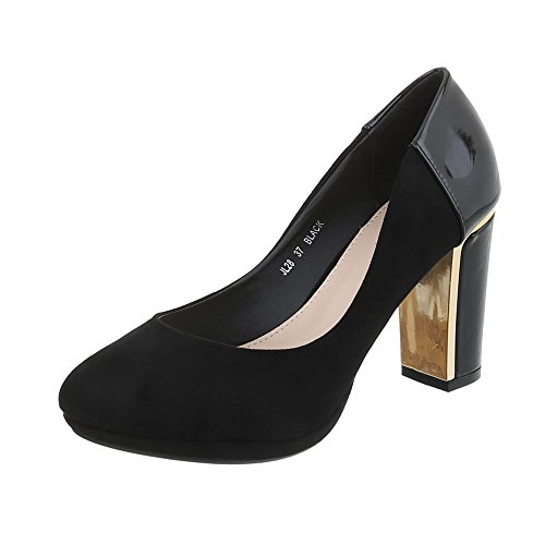 Ital-Design Women's Court Shoes Kitten Heel High Heels Black Jl28 nPb8sXM