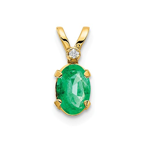 (14k Yellow Gold Diamond Green Emerald Birthstone Pendant Charm Necklace May Oval Fine Jewelry For Women Gift Set)