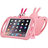 Cute iPad Pro 10.5 Case with Handle Silicone Cartoon Rabbit Stand Design Shockproof Slim Waterproof with Holder and Kickstand Pink