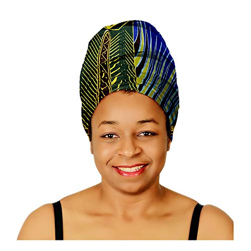 (Head Scarfs and Wraps African Print Turban Hats Ethnic (Tropical Blue, Brown and Yellow))